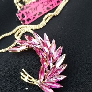Betsey Johnson brooch necklace pink New
